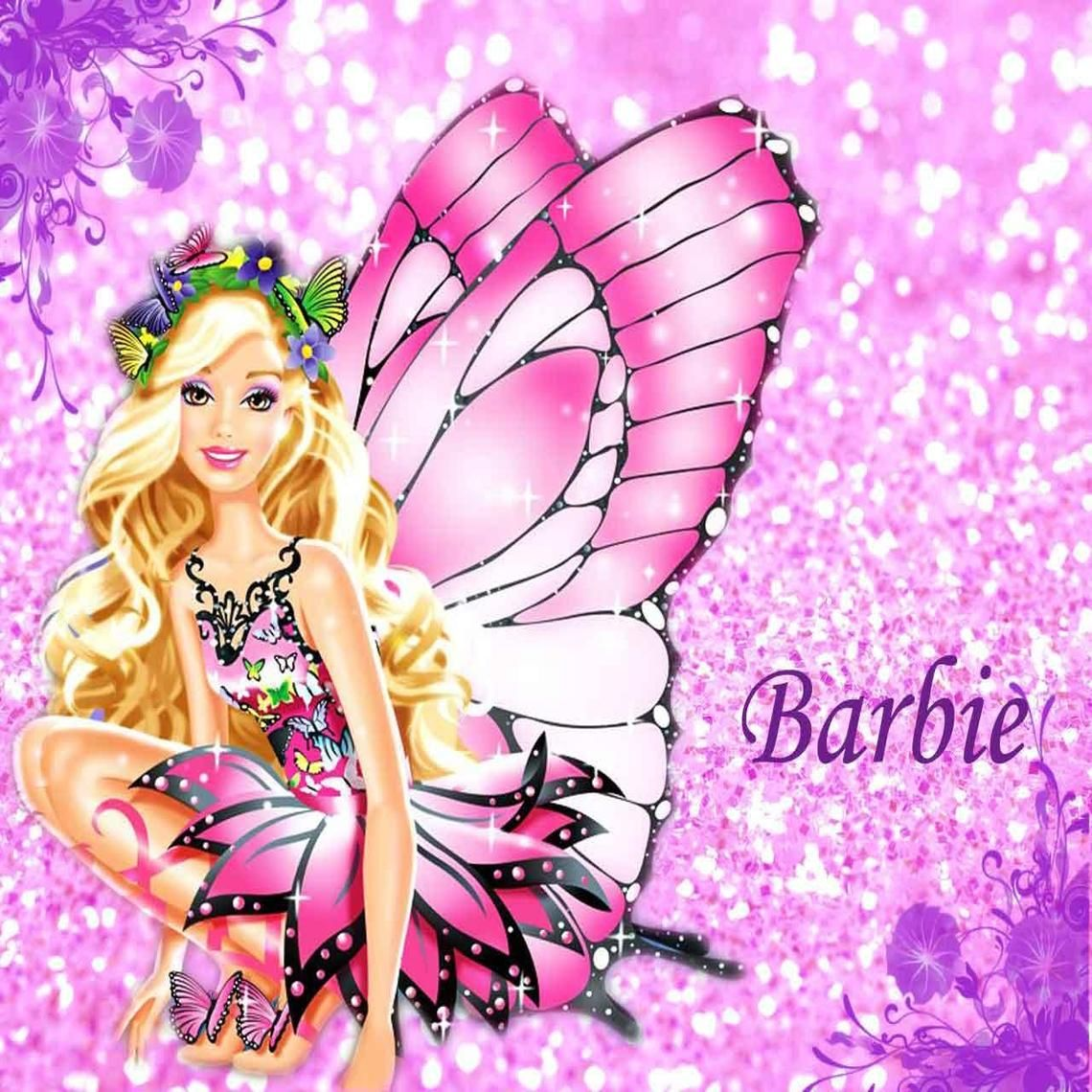 Barbiemariposawallpaper6 Barbie Marcos Imprimibles Y