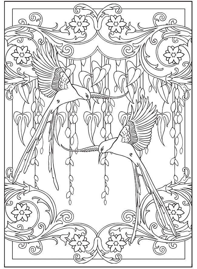 art nouveau birds and flowers  ausmalbilder ausmalen