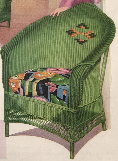 1930 Vintage Advertising Green Wicker Chair Wicker