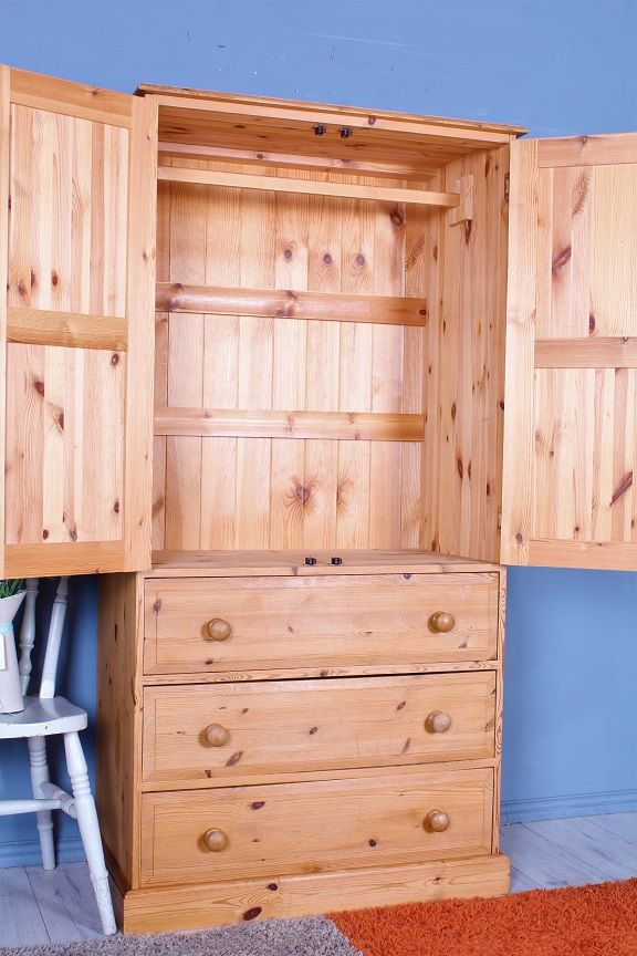 179 Solid Pine Wardrobe Ideal For A Childs Bedroom Or Additional Kitchen Storage Clean Condition Inside In 2020 Pine Wardrobe Pine Furniture Tall Cabinet Storage