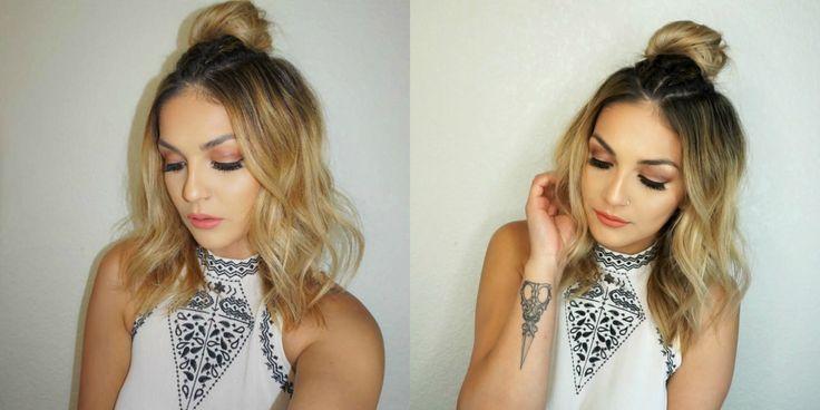 Two Simple Braid Top Knot Bun Hairstyles For Any Length Hair | Brenda Manalac #braidedtopknots