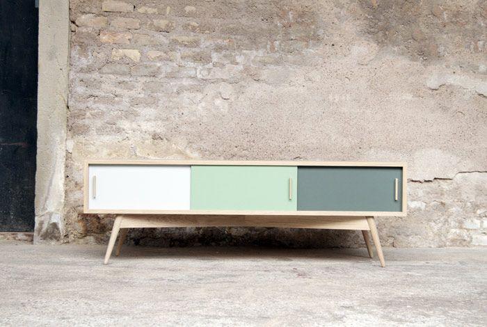 meuble hifi tv bas vintage bois sur mesure made in france - Meuble Tv Made In Design