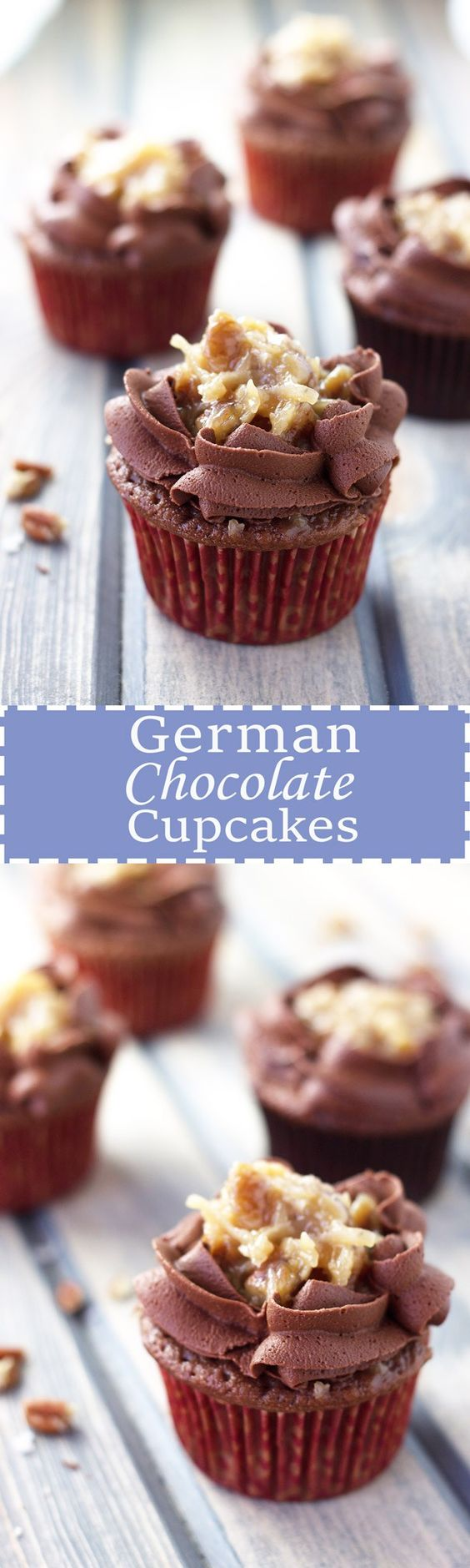 German Chocolate Cupcakes- A german chocolate cupcake topped with a caramel pecan and a sweet chocolate frosting! | Countryside Cravings