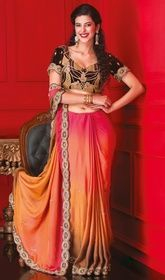 Ravishing Apricot & Pink Embroidered Designer Saree