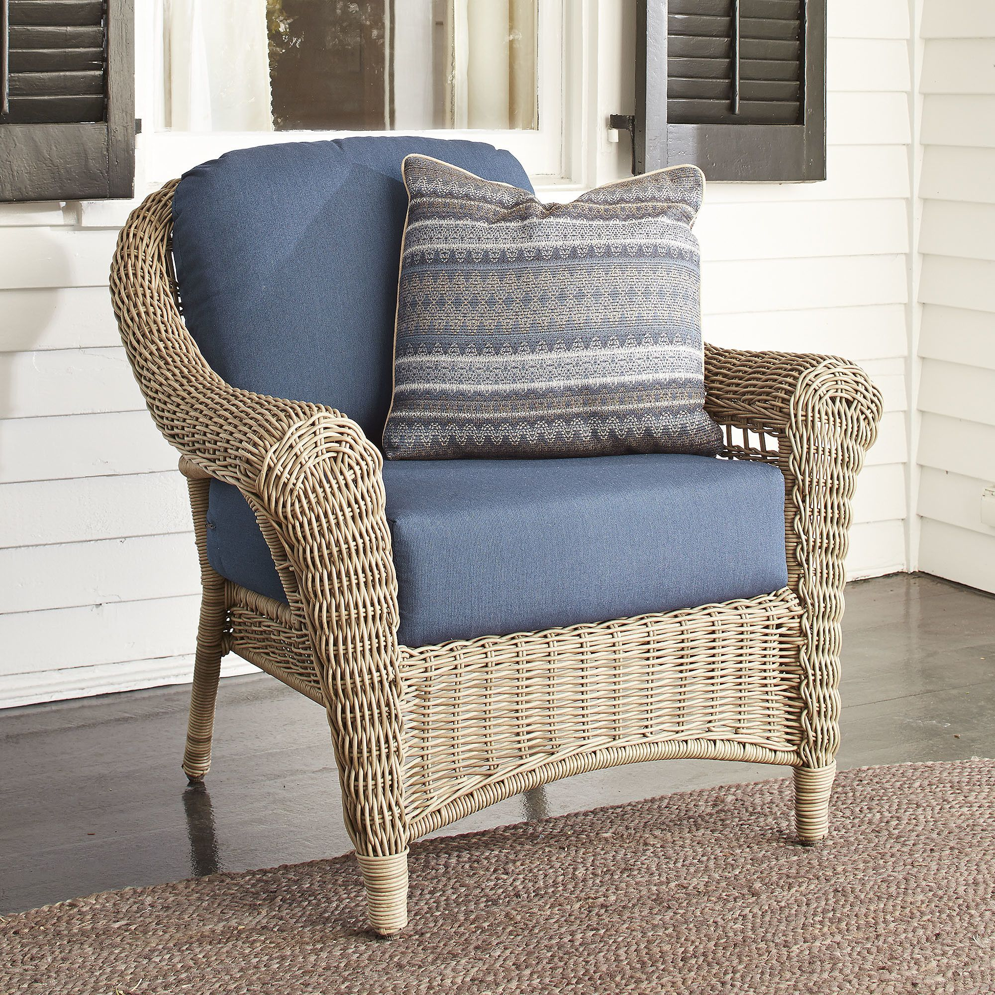Lynwood Wicker Chair with Sunbrella Cushions With