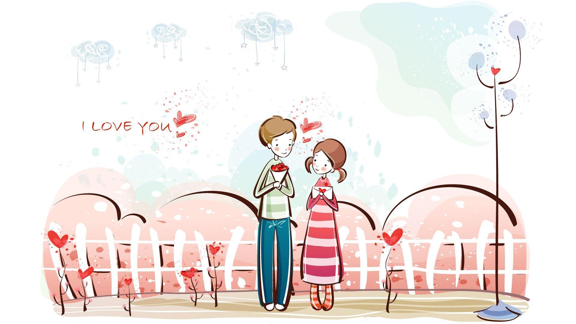 love couple cartoon screen wallpaper - Cartoon Valentine Pictures