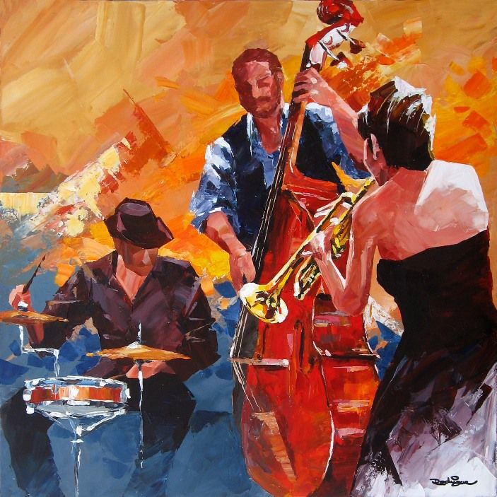 band painting | Jazz Band Art Jazz band 17 (con imágenes) | Arte ...