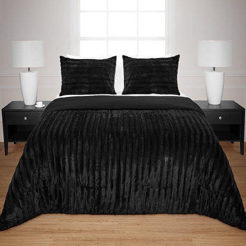 Avenue 8 Long Fur Comforter Mini Set - Black - King Avenue