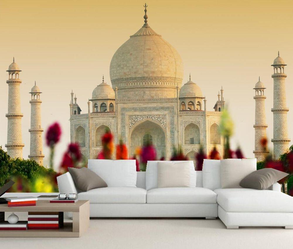 Custom 3d Mural Taj Mahal Mosque Agra India Photo Wallpaper Living Room Tv Sofa Wall Bedroom Restaurant Papel D Wallpaper Living Room Living Room Tv Sofa Wall 3d wallpaper for living room india