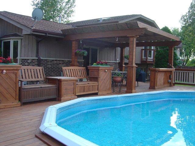 Above ground pools decks idea above ground pool deck for Above ground pool storage ideas