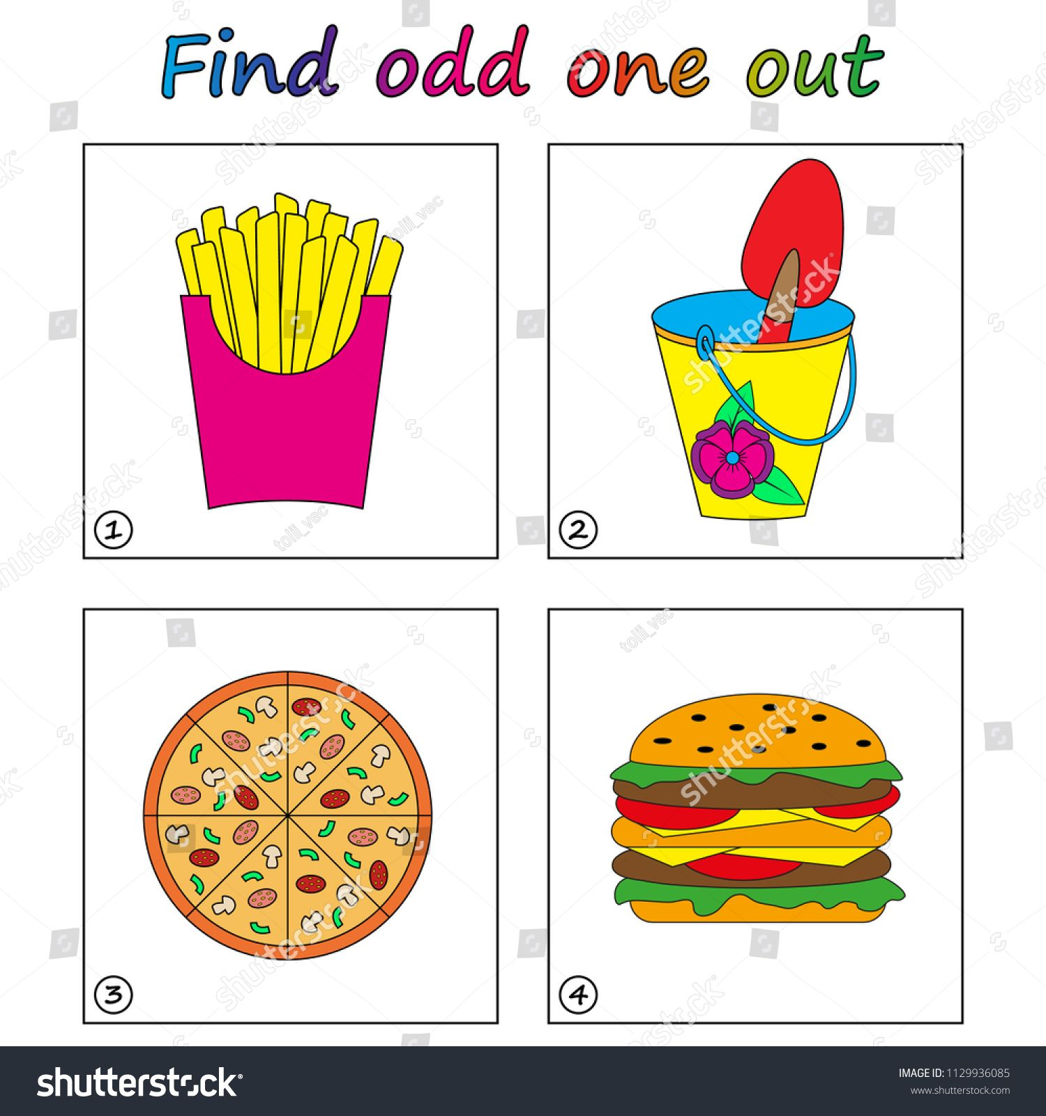 Find Odd One Out Game For Kids Worksheet Visual Educational Game For Children Ad Ad Game Kid Educational Games For Kids Educational Games Kids Stock [ 1600 x 1500 Pixel ]