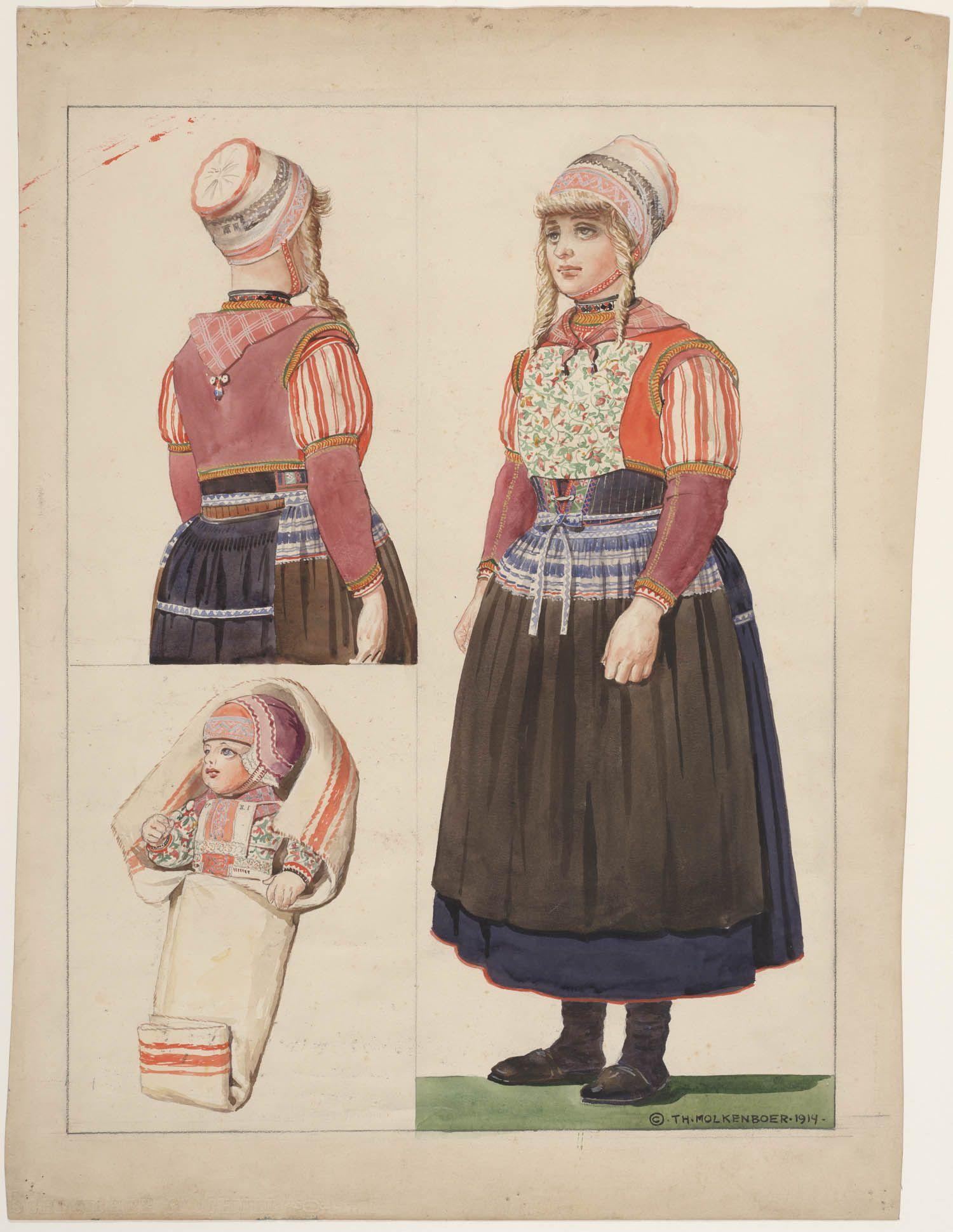 Nederlandse Kleding.Kleding Vrouw En Bakerkind Marken 1914 Kunstenaar Molkenboer