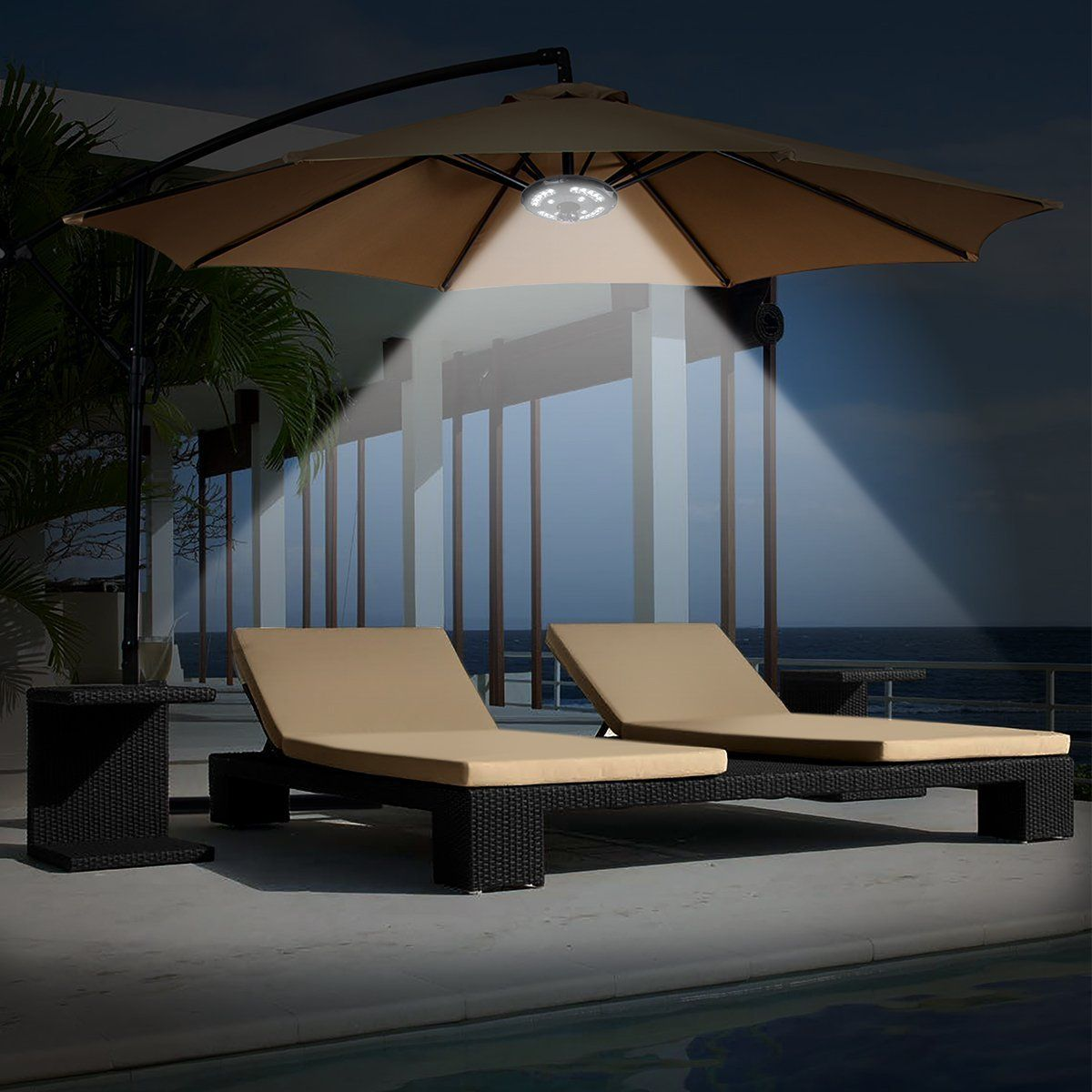 Amir Patio Umbrella Light Cordless 24 Led Night Lights 12 000 Lux Umbrella Led Light Battery Operated Um Patio Upgrade Patio Umbrella Lights Umbrella Lights