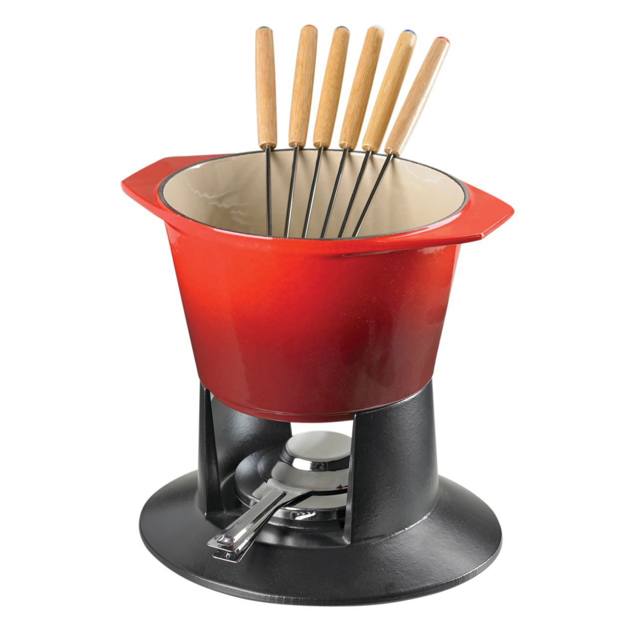 Family Night Just Got Much More Tasty And Fun With This Le Creuset Cherry Fondue Pot Cut Veggies Up Heat The Creamy Sharp Cheese In