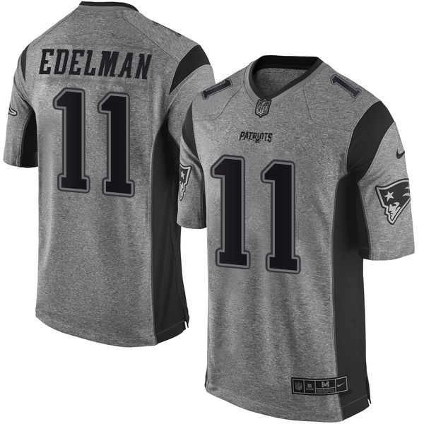 Men's Nike New England Patriots #11 Julian Edelman Elite Gray Gridiron NFL  Jersey