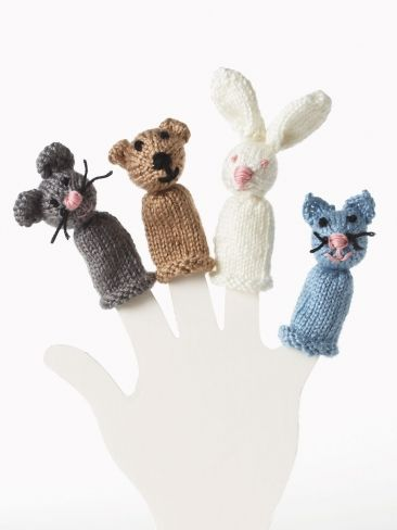 Bear, Bunny, Kitty and Mouse Finger Puppet Yarn Free Knitting Patterns ...