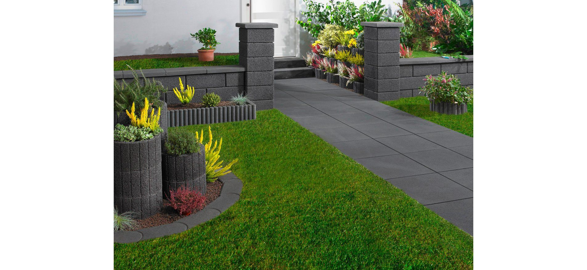 Gartenplatte Anthrazit