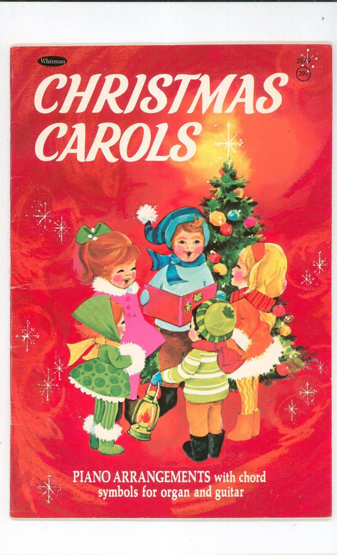 Christmas Carol Book.Vintage Christmas Carols Music Book Piano Chord Symbols For