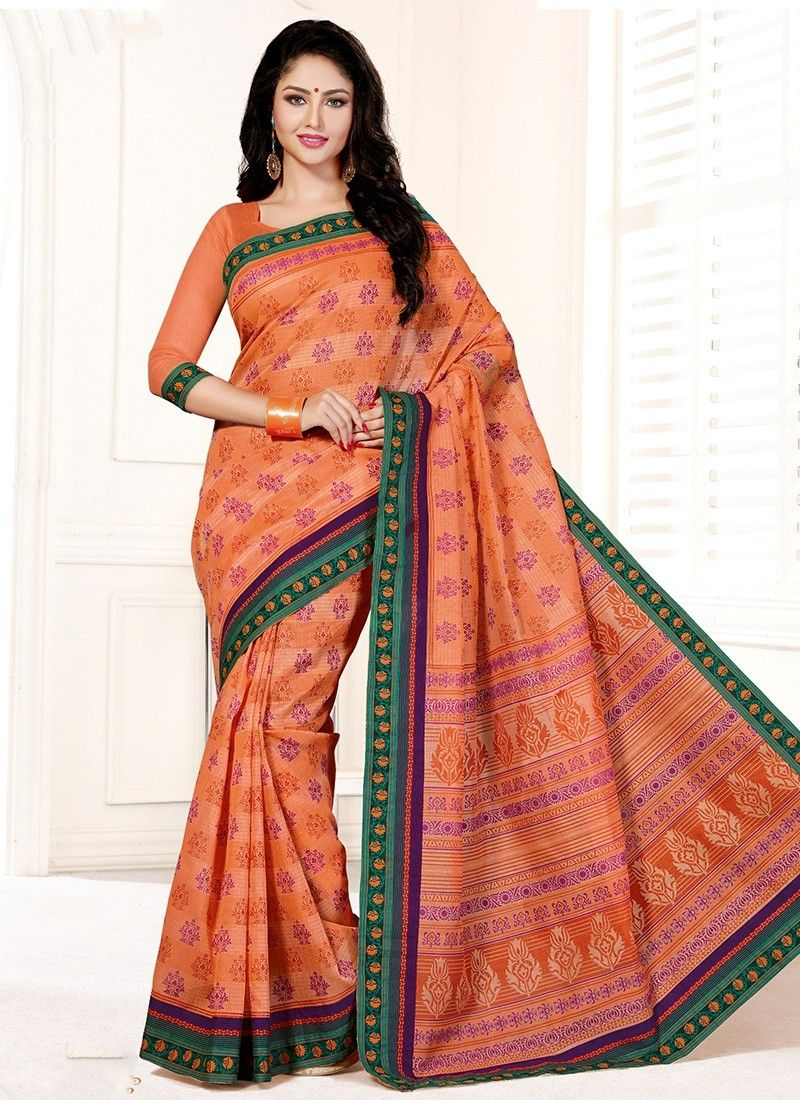 658cbeca7 Peach Cotton Casual Saree  party wear  chennai online  shopping  indian  saree