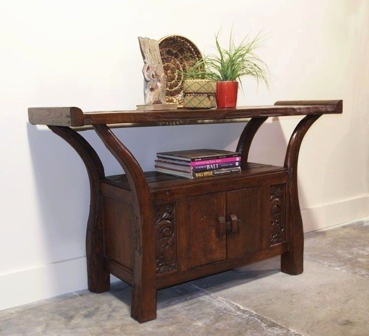 Asian Teak. Reclaimed Teak Old Plow Carved Console Cabinet. FYI, It Can Take