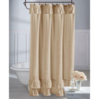 Wamsutta Vintage Ruffle 72 Inch X 84 Inch Shower Curtain In Khaki