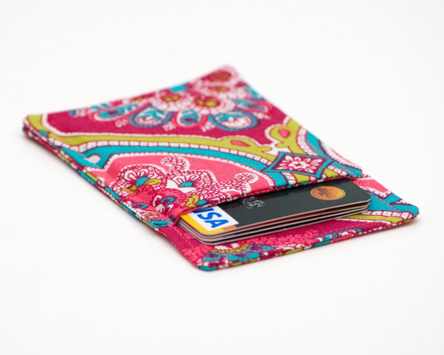 Pink Paisley Minimalist Wallet Business Card Holder Business