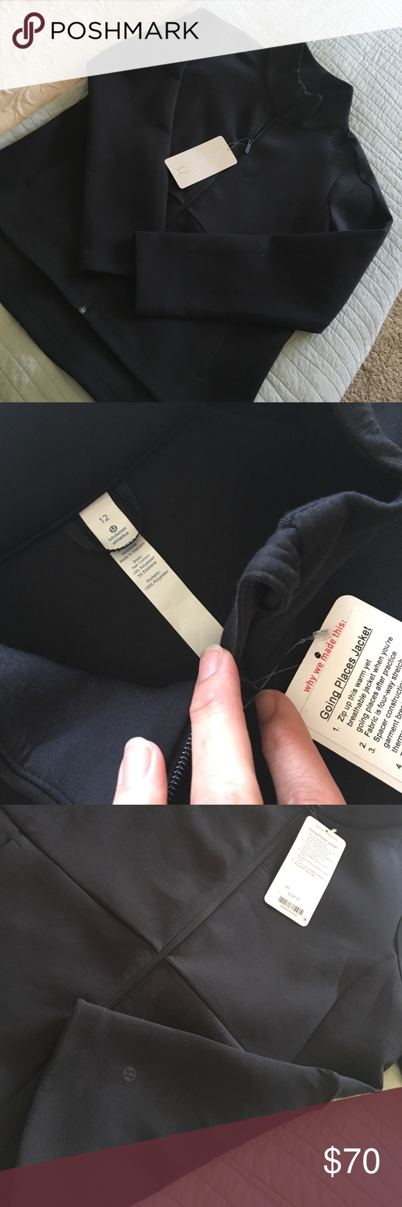 Lululemon Going Places Jacket NWT black Lululemon Going Places Jacket NWT black. Size 12. Generous fit. (Larger than scuba hoodie) Thick and smooth jacket. Warm and soft. Front pockets. Longer in back. Logo on back left bottom. lululemon athletica Jackets & Coats