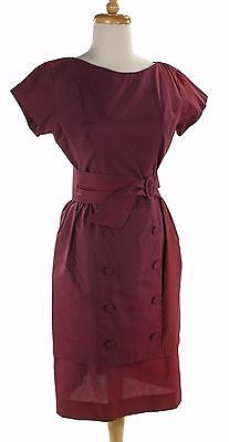 50s-Purple-Tailored-Wiggle-Vintage-Dress-Tiered-Pencil-Skirt-Sz-S-Hey-Viv