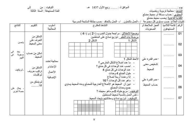 نموذج دفترالمعالجــة في الرياضيات و اللغة العربية السنة الثالثة ابتدائي الجيل الثاني Education Math Primary