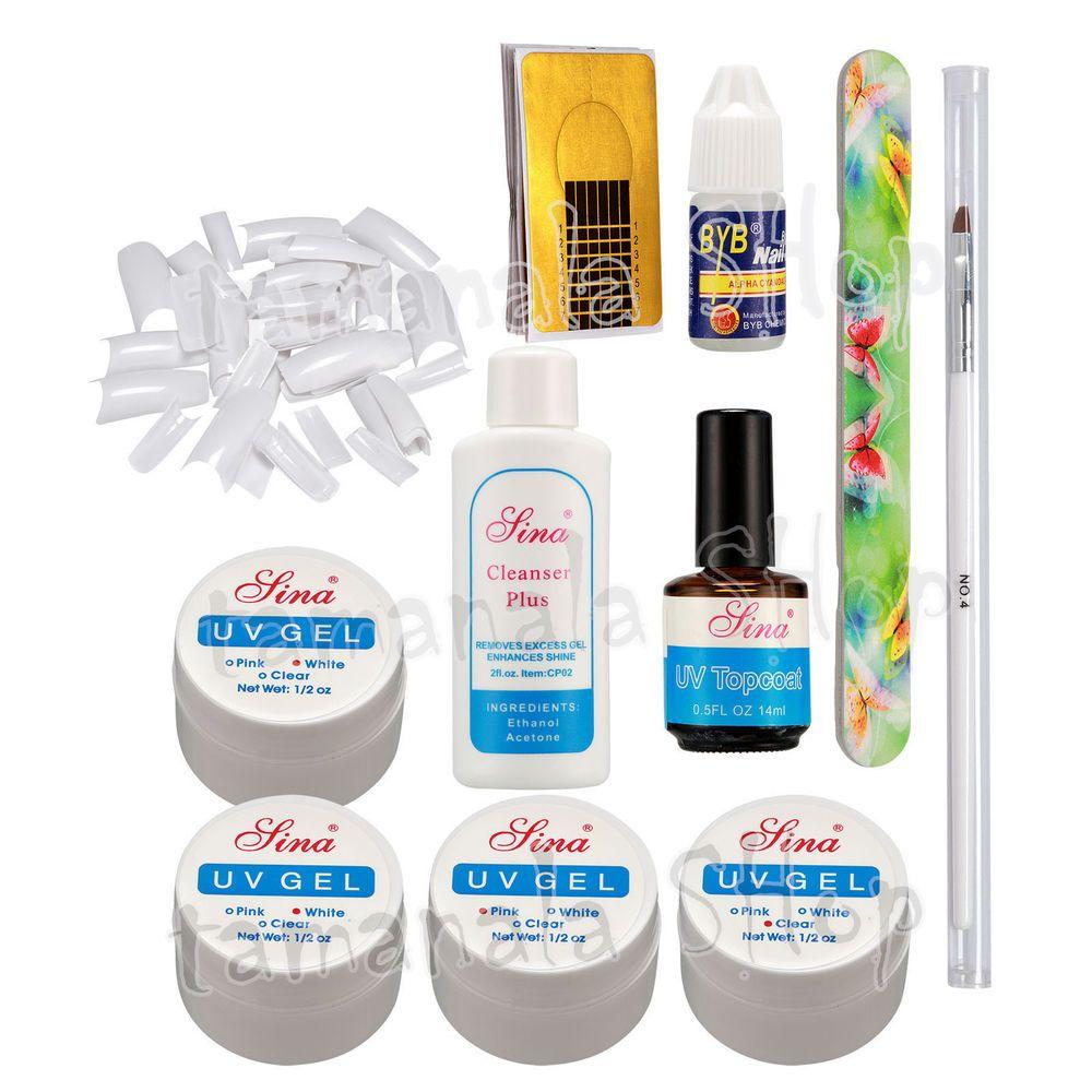 500PCS White France Tips Nail Art Kit UV Gel Glue Nail Forms Nail ...