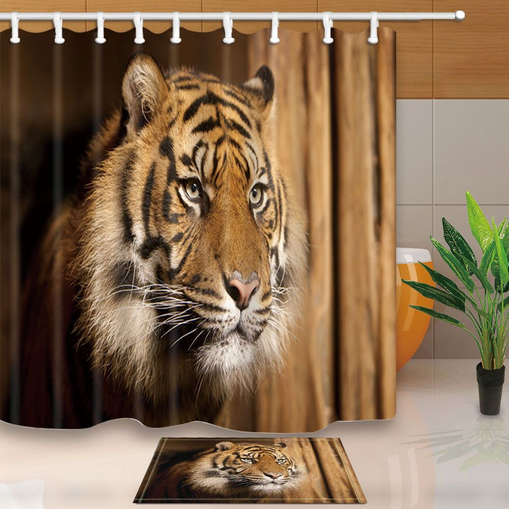 Wild Animal Tiger Polyester Fabric Shower Curtain Set With Hooks