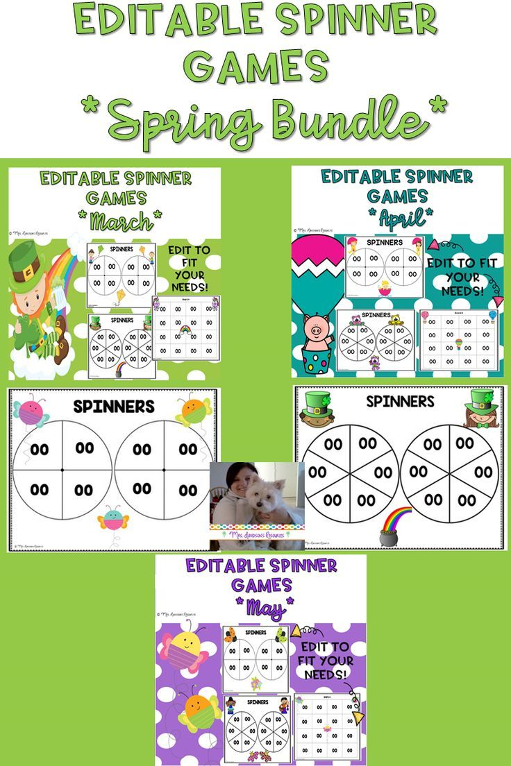 Spring Themed EDITABLE Spinner Games Bundle Save money by buying this bundle These unique EDITABLE spinner games are fun handson activities that engage students as they p...