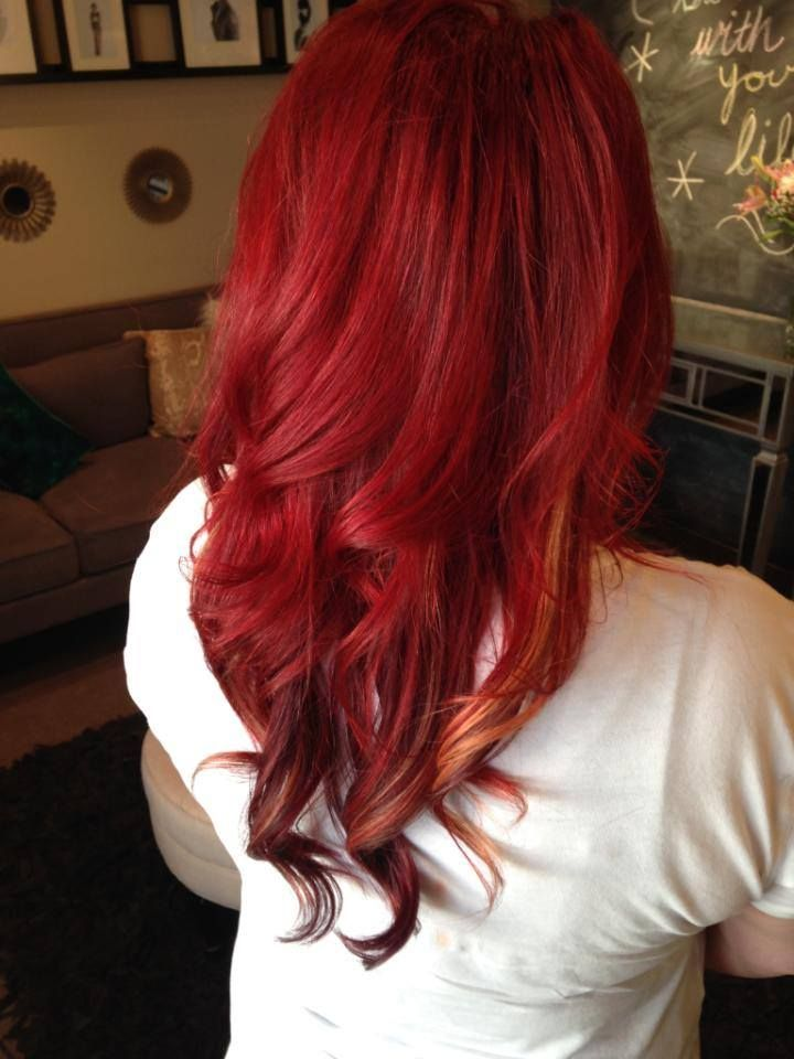 I D Do A Red Velvet Instead Of Bright Red W Darker Red Underneath With Some Blonde Peekaboos Red Blonde Hair Red Hair With Blonde Highlights Blonde Highlights