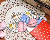 Roly Poly paper stickers set of 6