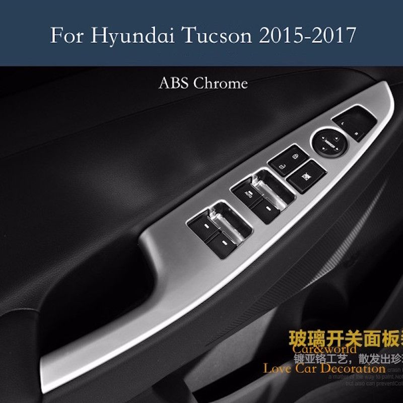 Accessories Abs Chrome Interior Decoration Door Window Switch Cover Trims For Hyundai Tucson 2015 2016 2017 Car Styling 4pcs Set Hyundai Tucson Hyundai Chrome