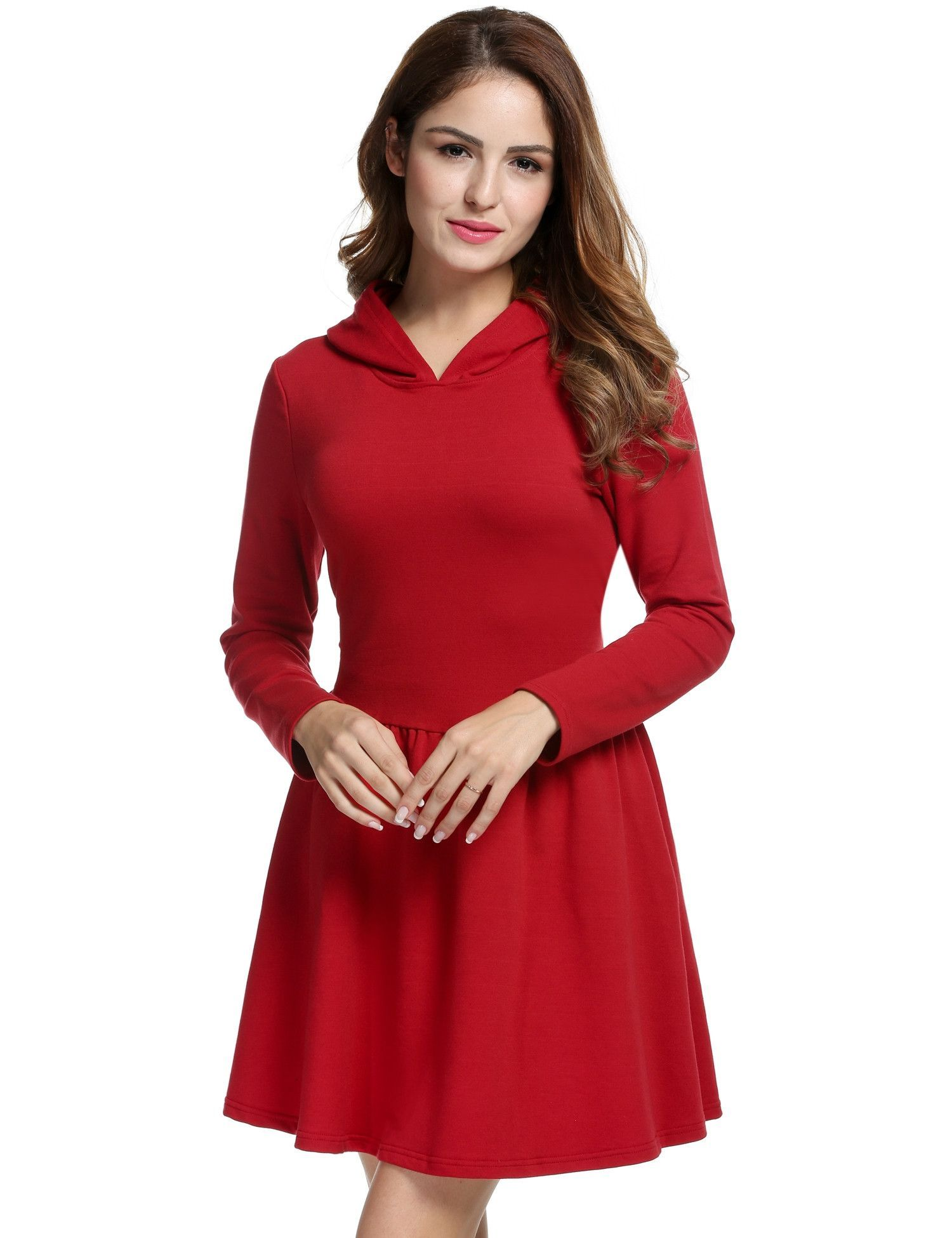 Red long sleeve hooded low waist pleated casual dress pinterest