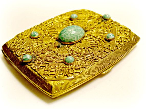 Cigarette Case, Hollywood Regency, Gold Filigree, Green Peking Art Glass Cabochons, Ladies Accessory, Cardholder, Money Holder, Tobacciana
