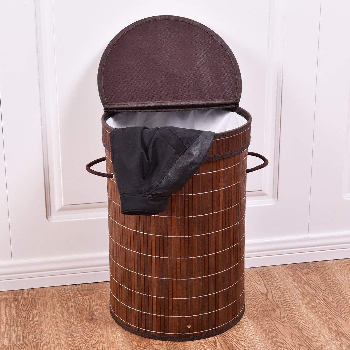 New Bamboo Hamper Laundry Basket Washing Cloth Storage Bin Bag W//Folding Lid