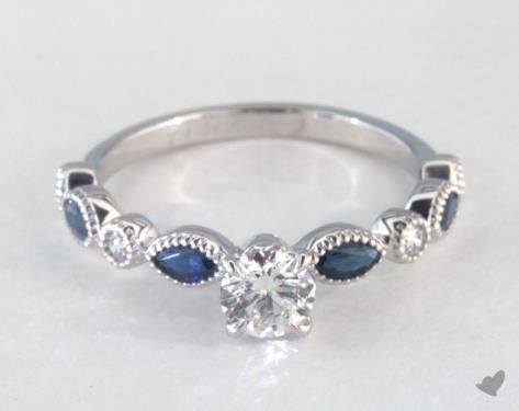 .3ct Side Stones Round Engagement Ring White Gold