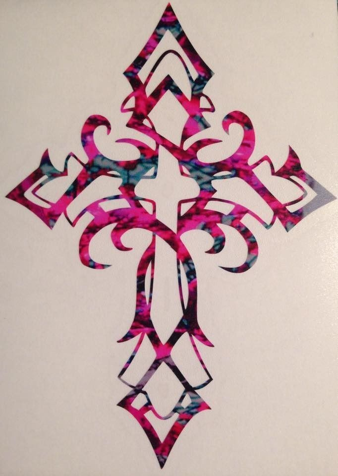 "Celtic Cross Truck Vinyl Decal 5"" Christian Faith Jesus Camo Pink Tribal Muddy 