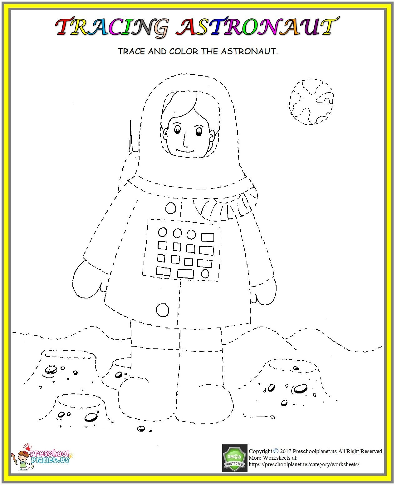 Astronaut Tracing Worksheet