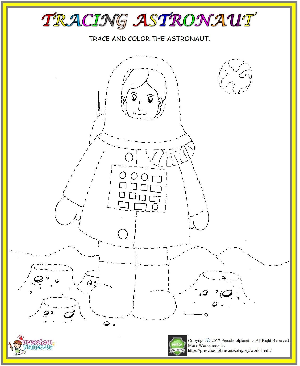 Astronaut Tracing Worksheet