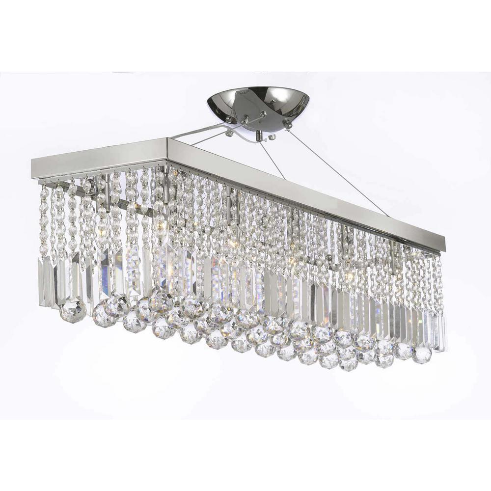 Null modern light chrome and crystal chandelier pendant