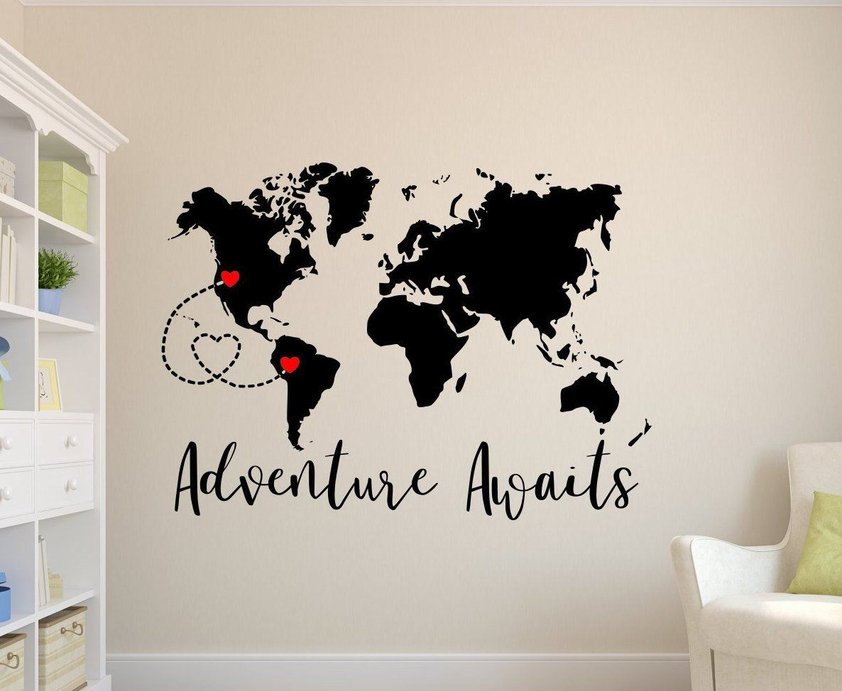 Adventure Awaits Decal World Map Decal Personalized Map Travel Wall Decal Adventure Wall Decal Adv World Map Decal Adventure Wall Decor Adventure Wall Art