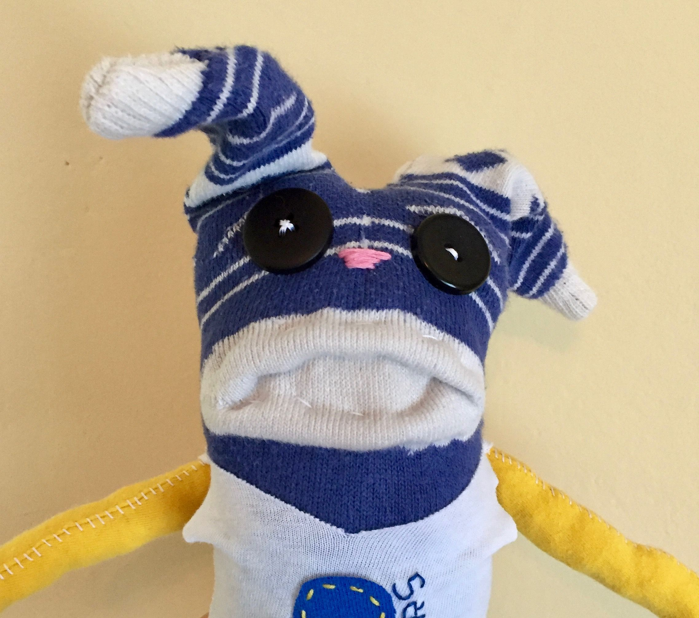 Golden Sate Warriors Stuffed Bunny made from all reclaimed clothing