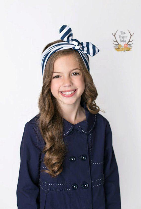 Navy Blue   White Stripe Headwrap - Turban Headband - Knotted Headband -  Tie Headband - Head Wrap f5f99e95267