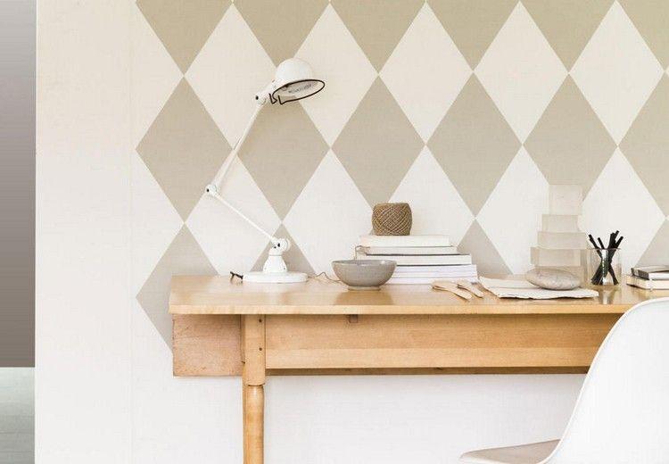 rautenmuster in beige und wei an der wand streichen pinterest wand streichen muster. Black Bedroom Furniture Sets. Home Design Ideas
