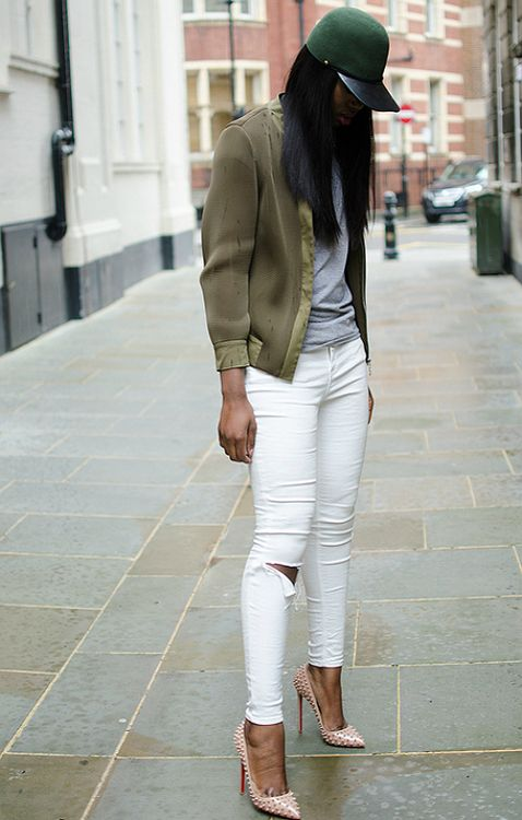 Khaki Bomber Jacket by Melissa! Love her to shreds! Her styling is
