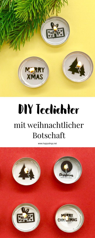 Weihnachtsdeko selber machen - Teelichter mit Botschaft