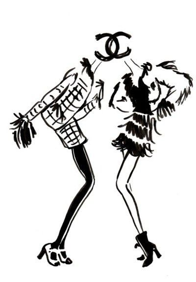 Chanel parisienne mode dessin silhouette mode a - Dessin parisienne ...